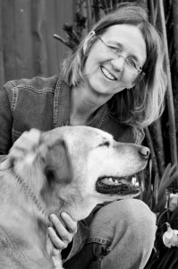 Chris McDonald, animal communicator and Sophie, her dog